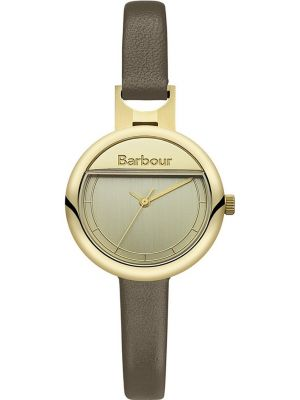 Womens Barbour Harton thin gold plated brown leather strap bb005gdgr Watch