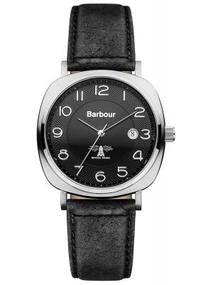Mens Barbour Beacon square black leather strap bb018slbk Watch