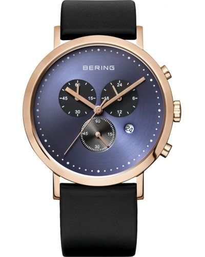 Mens Bering Classic Rose gold black leather chronograph 10540-567 Watch