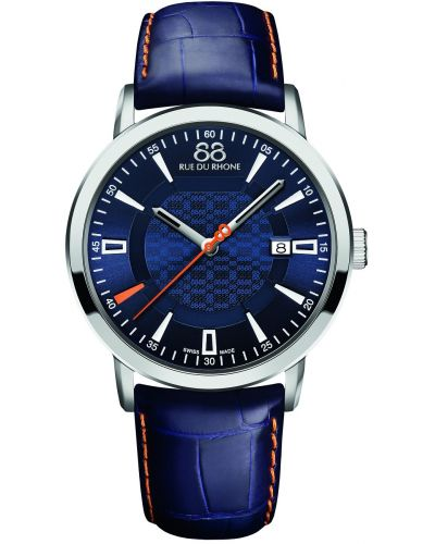 Mens 88 Rue Du Rhone 42mm Quartz Stainless steel blue leather strap 87WA140023 Watch