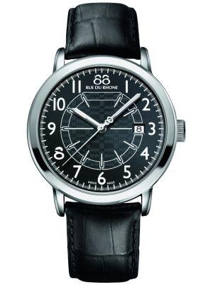 Mens 88 Rue Du Rhone 42mm Quartz stainless steel black leather strap 87WA144210 Watch