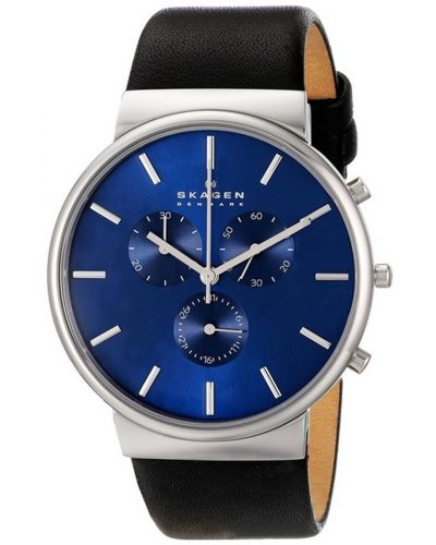 Mens Skagen Ancher stainless steel black leather chrono skw6105 Watch