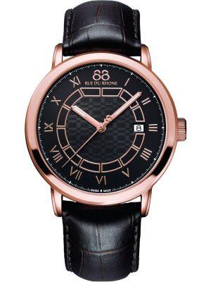 Mens 88 Rue Du Rhone 42mm Quartz Rose gold brown leather strap 87wa144205 Watch