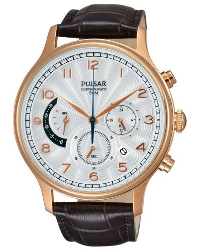 Mens Pulsar  Classic rose gold brown leather strap PU6010X1 Watch