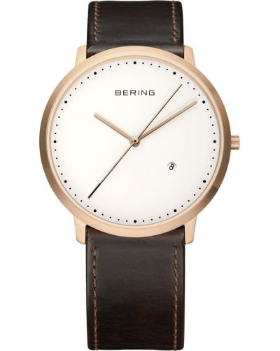 Mens Bering Classic Rose brown leather strap 11139-564 Watch