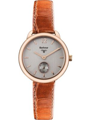 Womens Barbour Whitley rose gold brown leather strap BB035RSTN Watch