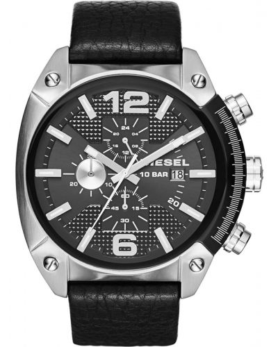 Mens Diesel Overflow Black leather chronograph dz4341 Watch