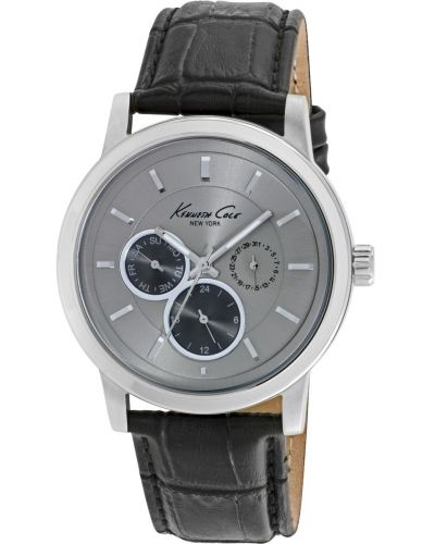 Mens Kenneth Cole Classic Stainless steel black leather strap kc10019562 Watch