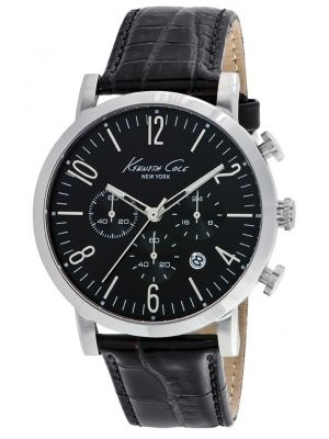 Mens Kenneth Cole Dress Sport Stainless steel black leather chronograph kc10020826 Watch