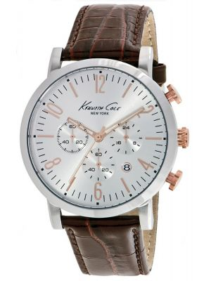 Mens Kenneth Cole Dress Sport Stainless steel brown leather chronograph kc10020827 Watch