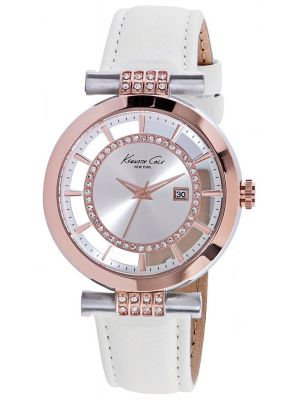 Womens Kenneth Cole Transparent Crystal set white leather strap kc10021107 Watch
