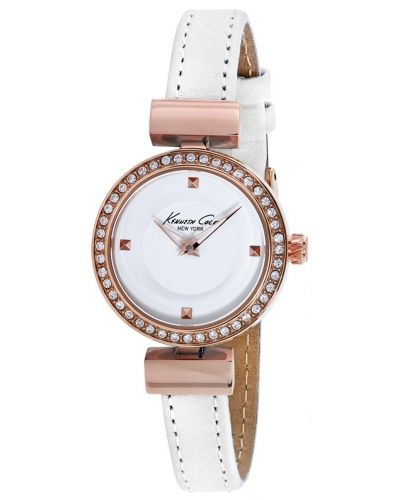 Womens Kenneth Cole Classic crystal set white leather strap kc10022302 Watch