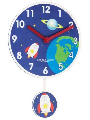 Rocket pendulum wall clock with bold Arabic dial.   02120