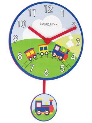 Train pendulum wall clock with bold Arabic dial | 02121