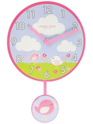 Birds pendulum wall clock with bold Arabic dial   02123