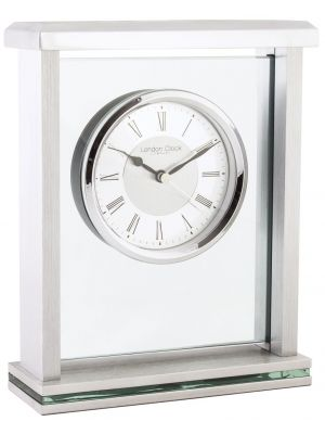 Glass and metal mantel with brushed metal dial   05178