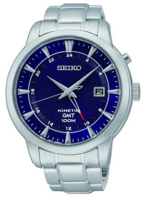 Mens Seiko Kinetic gmt Blue stainless steel SUN031P1 Watch