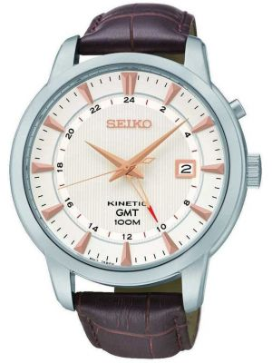 Mens Seiko Kinetic GMT Brown leather SUN035P1 Watch