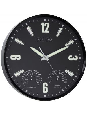 Weather resistant black wall clock | 24386