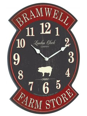 Bramwell farm store grey and deep red wall clock | 24305