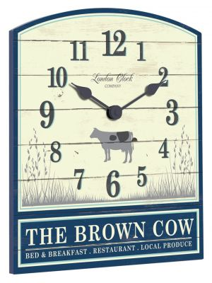 Cream and navy blue brown cow wall clock | 24306