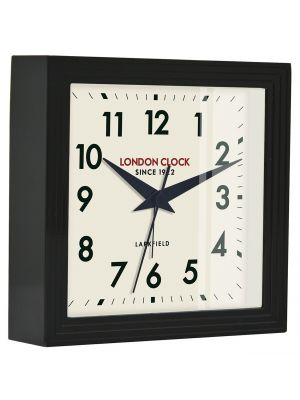 Black gloss finish metal mantel with alarm   06380