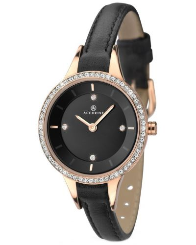 Womens Accurist Contemporary Black leather crystal set 8044.00 Watch