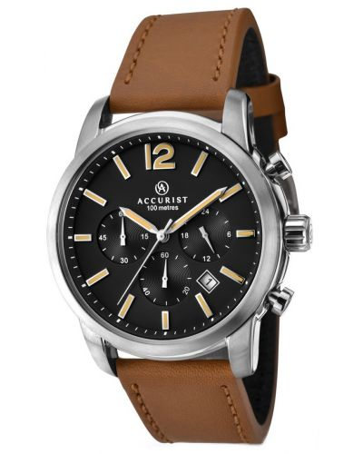Mens Accurist Chronograph Stainless steel leather strap 7020.00 Watch