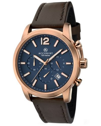 Mens Accurist Chronograph Rose gold plated  7021.00 Watch
