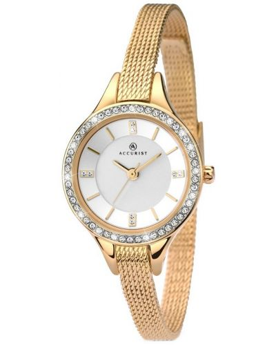 Womens Accurist Contemporary Gold crystal set Milanese 8004.00 Watch