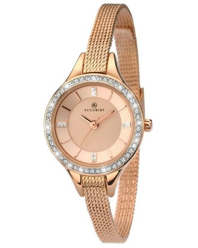 Womens Accurist Contemporary Rose gold crystal set Milanese 8005.00 Watch