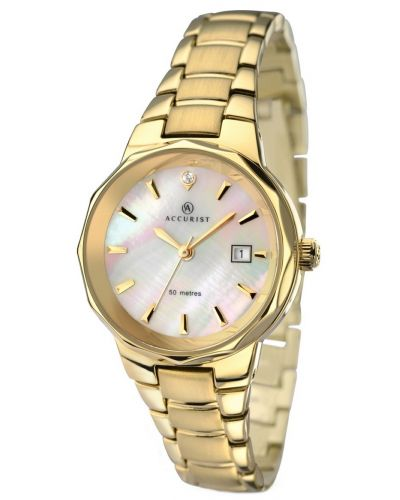Womens Accurist Classic Gold plated mother of pearl 8019.00 Watch