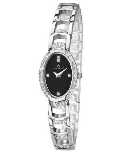 Womens Accurist Dress Silver black crystal set 8035.00 Watch