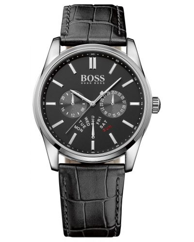 Mens Hugo Boss Heritage stainless steel black leather strap 1513124 Watch