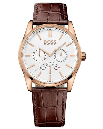 Mens Hugo Boss Heritage Rose gold dark brown leather strap 1513125 Watch