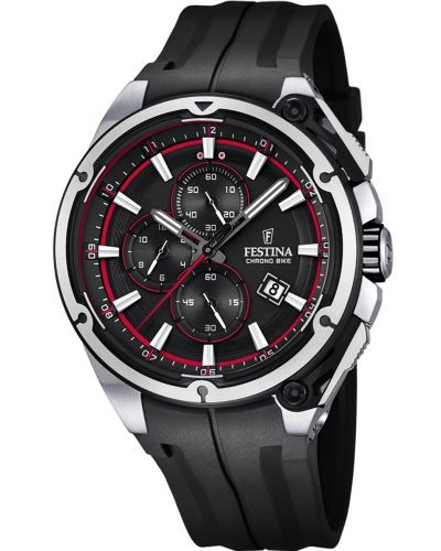 Mens Festina ChronoBike black Sports rubber strap f16882/8 Watch
