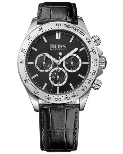 Mens Hugo Boss HB3060 Black leather strainless steel chrono 1513178 Watch