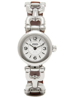 Womens Coach Waverly stainless steel brown leather strap 14501854 Watch