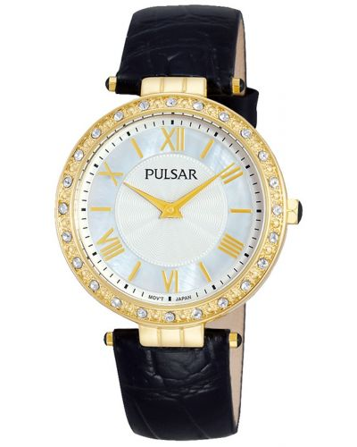 Womens Pulsar  Dress Wear Gold plated crystal set  pm2108x1 Watch