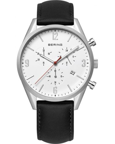 Mens Bering Classic Stainless steel leather chronograph 10542-404 Watch