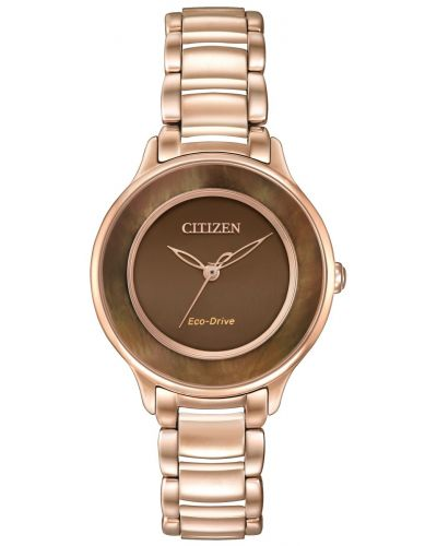 Womens Citizen Circle Of Time Rose gold brown mother of pearl EM0382-86X Watch