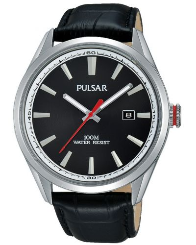 Mens Pulsar  Classic stainless steel black leather strap PS9375X1 Watch