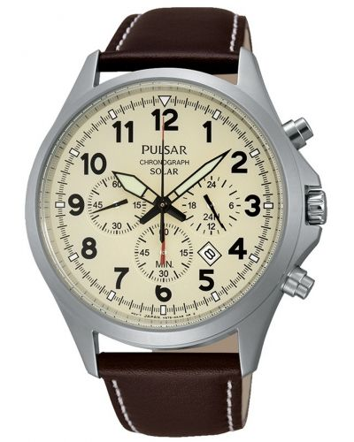 Mens Pulsar  Sports stainless steel leather chrono PX5005X1 Watch