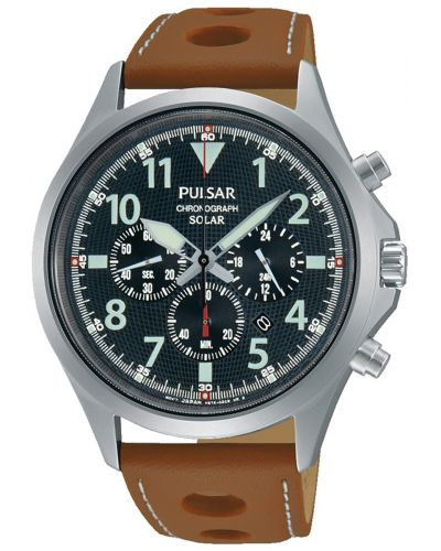 Mens Pulsar  Sports stainless steel tan leather chrono PX5023X1 Watch