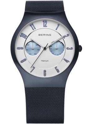 Mens Bering Titanium navy blue milanese strap 11939-394 Watch