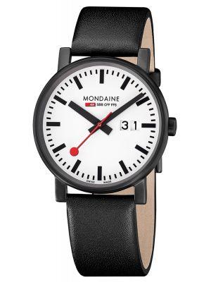 Mens Mondaine Evo Big Black PVD large date strap A627.30303.61SBB Watch