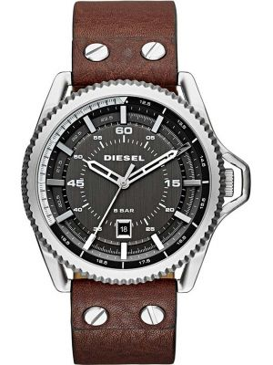Mens Diesel Roll Cage large brown leather strap DZ1716 Watch