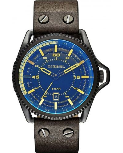 Mens Diesel Roll Cage blue and brown leather strap DZ1718 Watch