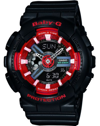 Womens Casio Baby G black and red resin strap BA-110SN-1AER Watch