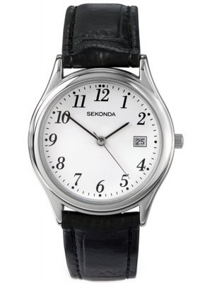 Mens Sekonda classic stainless steel leather strap 3473.00 Watch